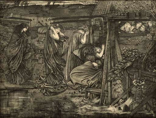 Sir Edward Coley Burne-Jones (1833-1898), The Wise and Foolish Virgins. 18 x 23¾  in (45.8 x 60.5  cm). Sold for £386,050 on 24 November 2004 at Christie's in London