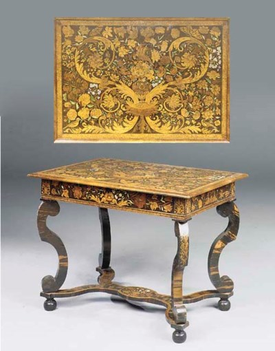 A CHARLES II WALNUT AND IVORY-