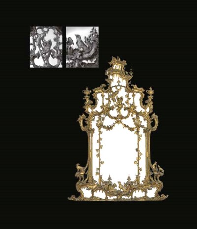 A MID-VICTORIAN GILTWOOD LARGE