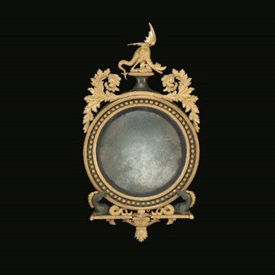 A BRONZED AND GILTWOOD CONVEX