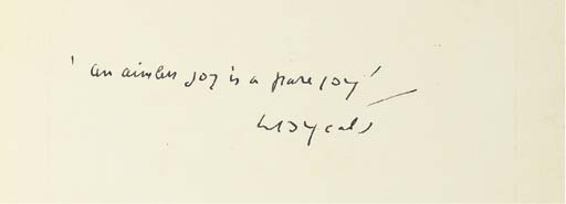 YEATS, W. B. Autograph quotati