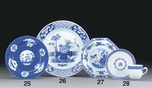 A BOW BLUE AND WHITE MOULDED C