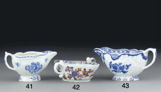 A BOW BLUE AND WHITE MOULDED O