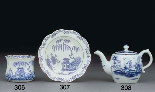 A BOW BLUE AND WHITE BALUSTER