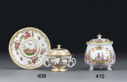 A MEISSEN TWO-HANDLED SMALL EC