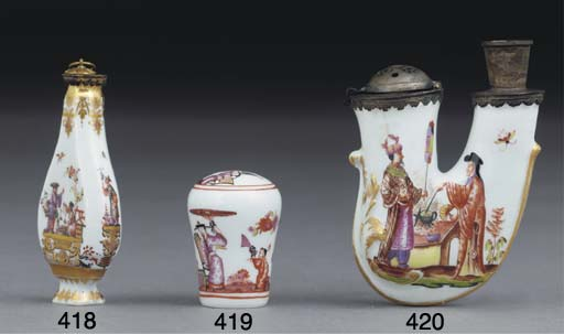 A MEISSEN CHINOSERIE CANE-HAND