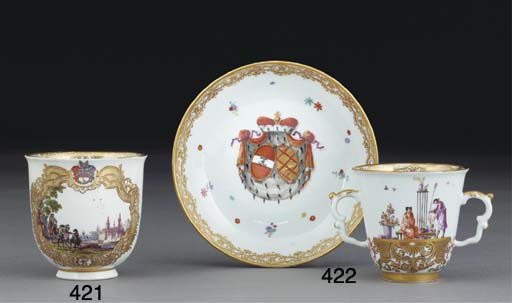 A MEISSEN ARMORIAL TWO-HANDLED