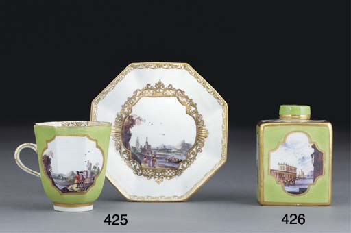 A MEISSEN LIME-GREEN-GROUND CO
