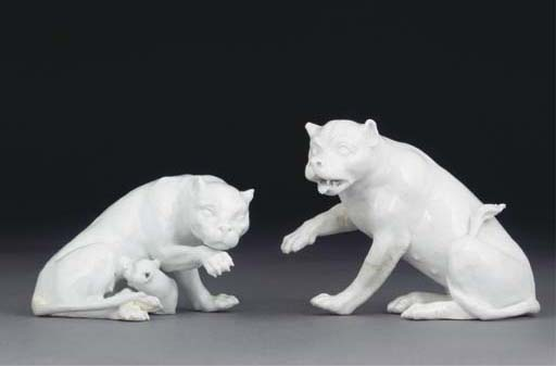 A PAIR OF MEISSEN WHITE MODELS