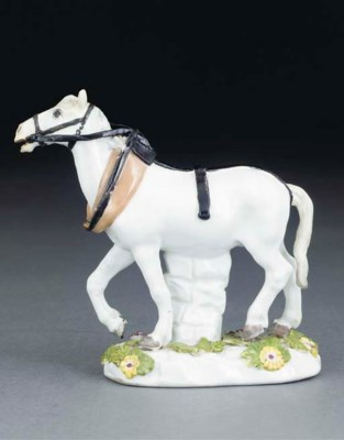 A MEISSEN MODEL OF A PACKHORSE