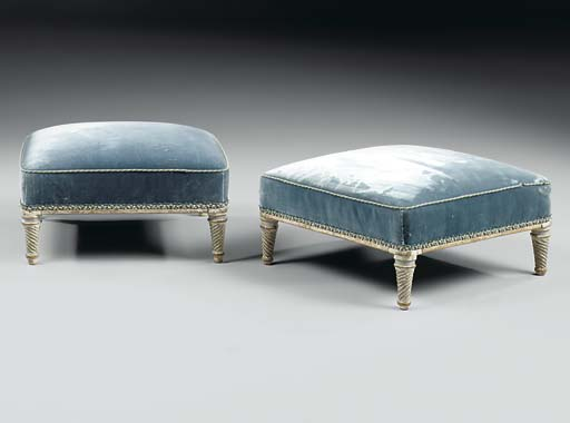 A PAIR OF LOUIS XVI GREY-PAINTED TABOURETS