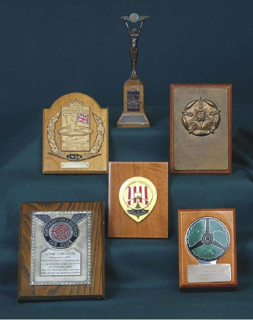 A group of Rally Award Plaques