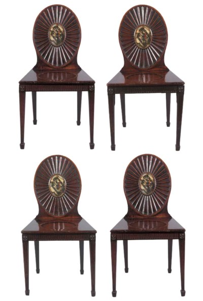 A SET OF FOUR GEORGE III MAHOG