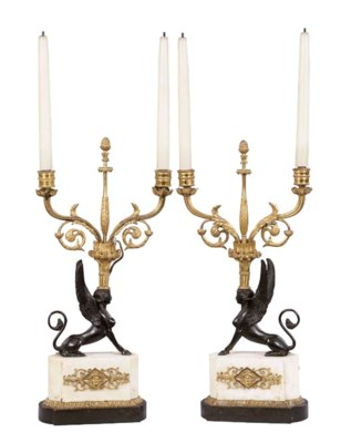 A PAIR OF DIRECTOIRE BRONZE AN