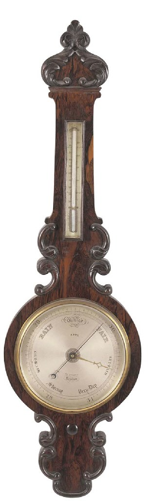 A VICTORIAN ROSEWOOD BAROMETER