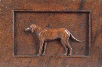 A WELSH RELIEF CARVED OAK PANE