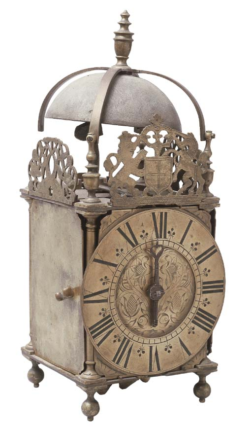 A GEORGE I BRASS LANTERN CLOCK