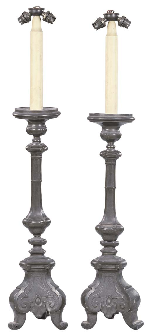 A PAIR OF CONTINENTAL PEWTER A