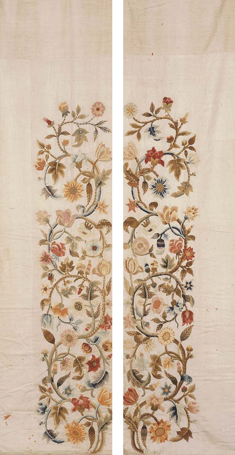 THREE CREWELWORK VALENCES