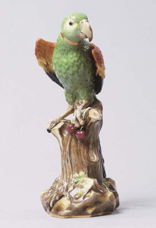 A MEISSEN MODEL OF A MACAW