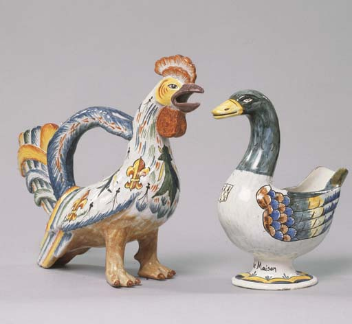 TWO FRENCH FAIENCE JUGS AND A