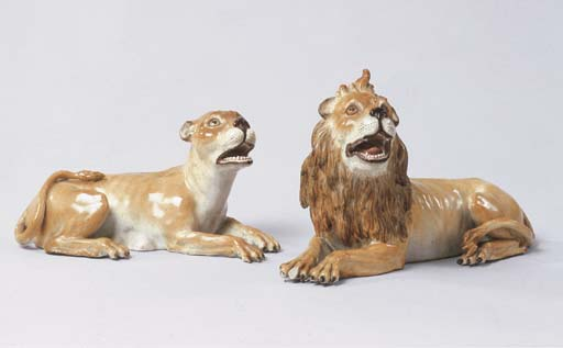 A PAIR OF MEISSEN MODELS OF A