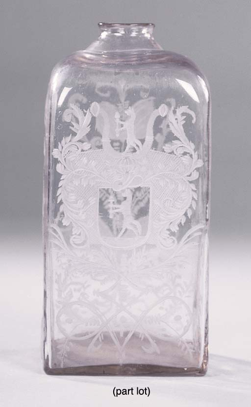 A GERMAN ENGRAVED FLASK