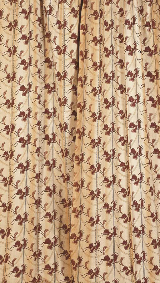 A PAIR OF LINEN CURTAINS