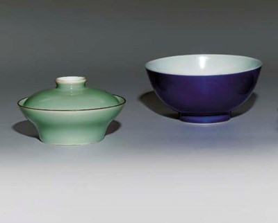 A BLUE-GLAZED BOWL; AND A CELA