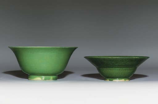 TWO GREEN-GLAZED BOWLS