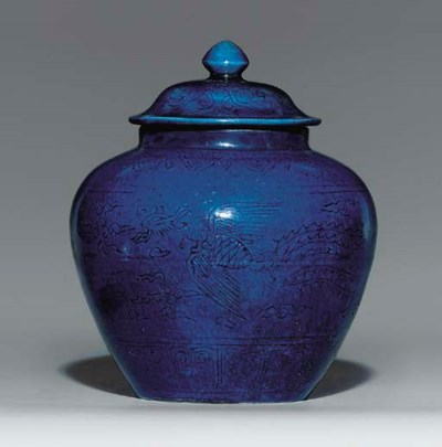 A BLUE-GLAZED JAR AND COVER