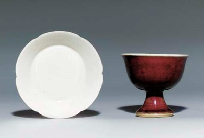 A RED-GLAZED STEM-CUP; AND A D