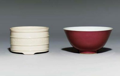 A RED-GLAZED BOWL; AND A BLANC