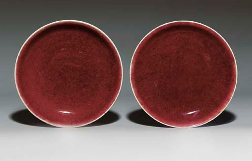 A PAIR OF LANGYAO DISHES