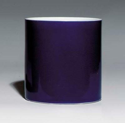 A BLUE-GLAZED BRUSH POT