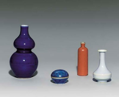 THREE MINIATURE VASES; AND A M