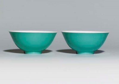 A PAIR OF TURQUOISE-ENAMELLED