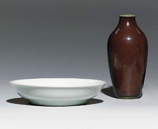 A 'RUST'-GLAZED VASE; AND AN A