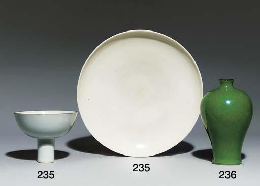 A LARGE BLANC-DE-CHINE DISH; A