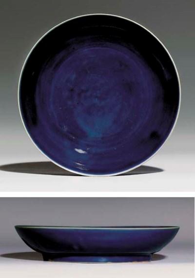 A LATE MING BLUE-GLAZED DISH