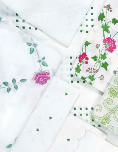 VARIOUS EMBROIDERED LINEN TABL