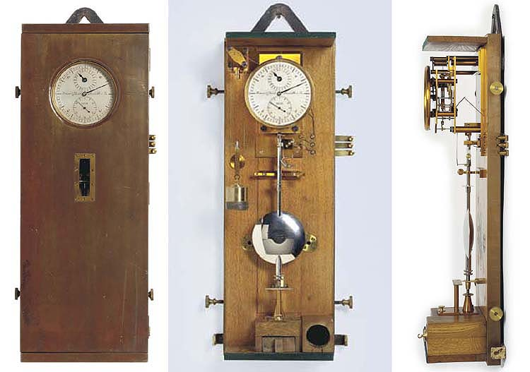 Strasser & Rohde No. 285  A German copper-plated oak geodetic field regulator with half-seconds pendulum and electrical contacts.  Circa 1904