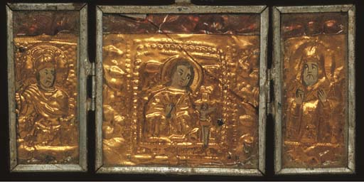 A GILT-METAL AND PAINTED TRIPT