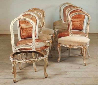 A SET OF NINE LOUIS XV WHITE-P