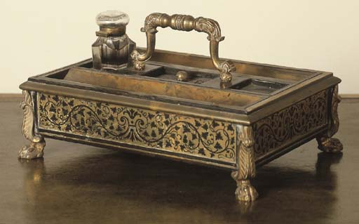 A GEORGE IV BOULLE BRASS-INLAI