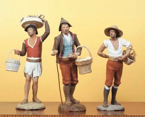 THREE SPANISH POLYCHROME-PAINT