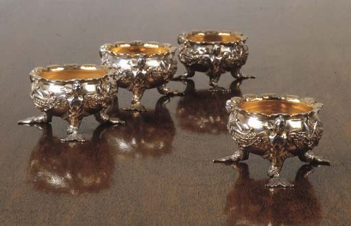 FOUR GEORGE II/III SILVER SALT