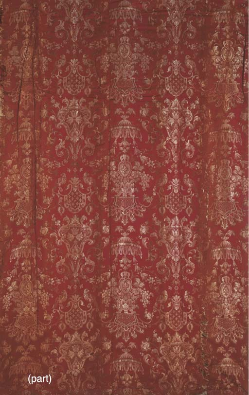 TWO PAIRS OF RED FIGURED SILK