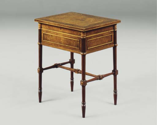 A REGENCY BROWN OAK AND HOLLY-