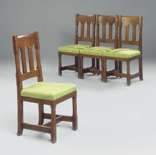 A SET OF FOUR GOTHIC OAK HALL